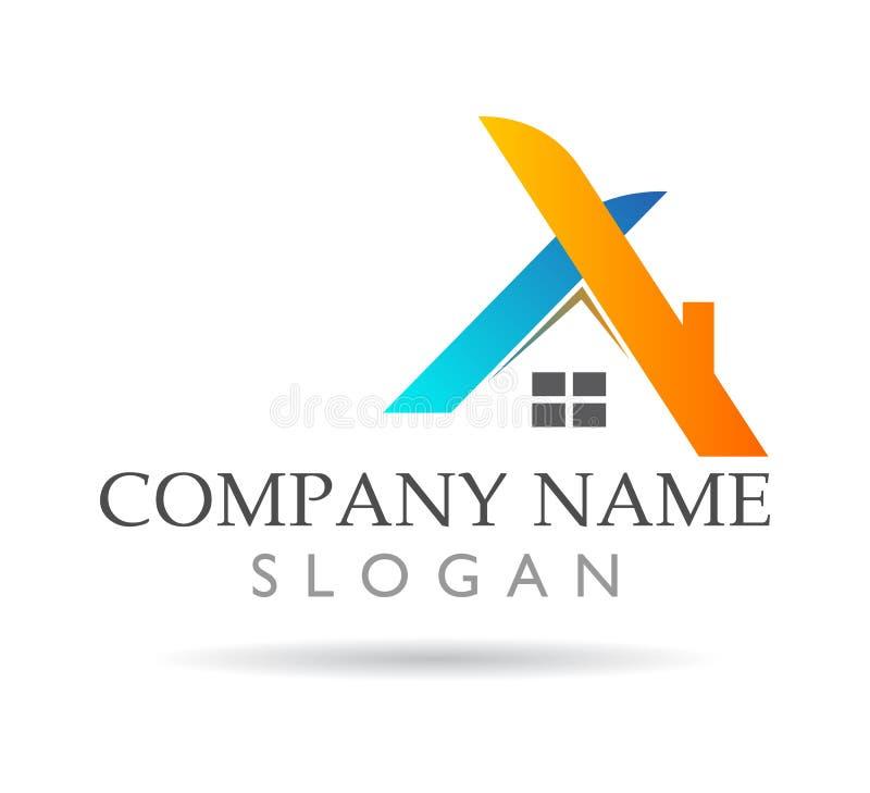 Propiedades inmobiliarias y logotipo casero, muestra del elemento del icono del logotipo del concepto de la compañía en el fondo  stock de ilustración