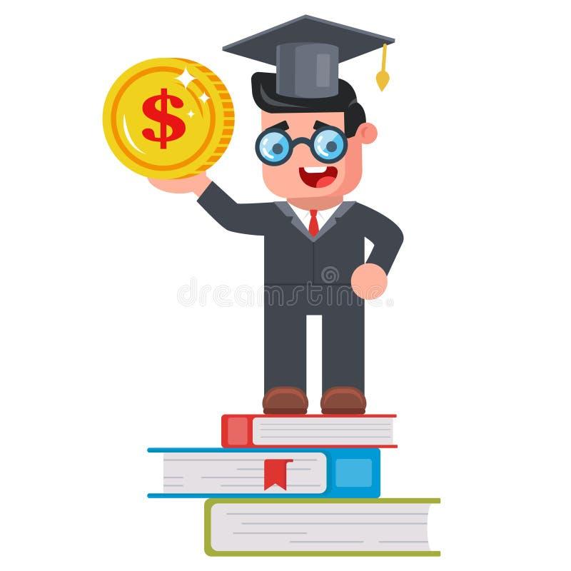 PROPINAS estudante novo com uma moeda no seu ilustração do vetor