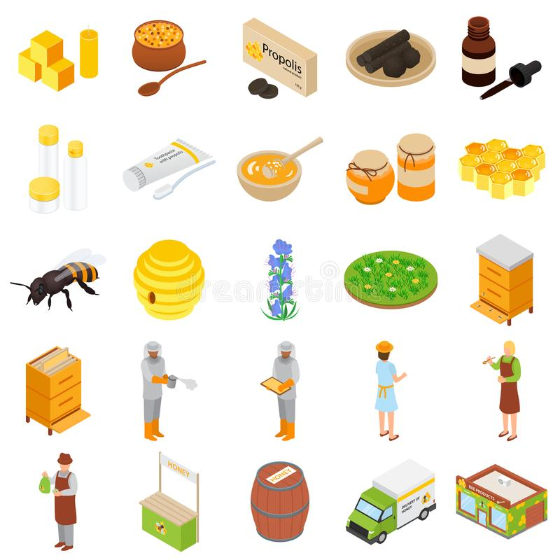 Propolis honey apiary icons set, isometric style stock illustration