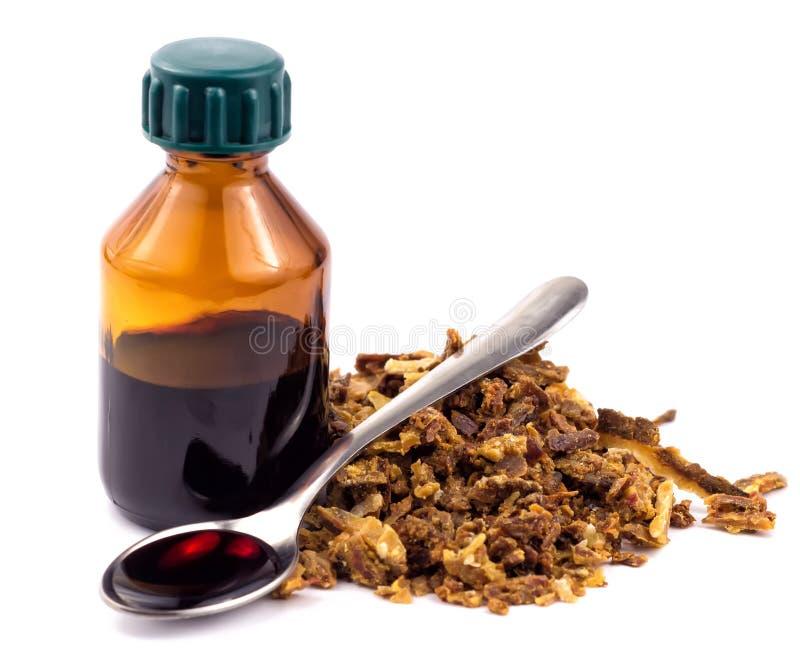 Propolis médico da abelha das preparações Apitherapy Isolado no fundo branco imagem de stock