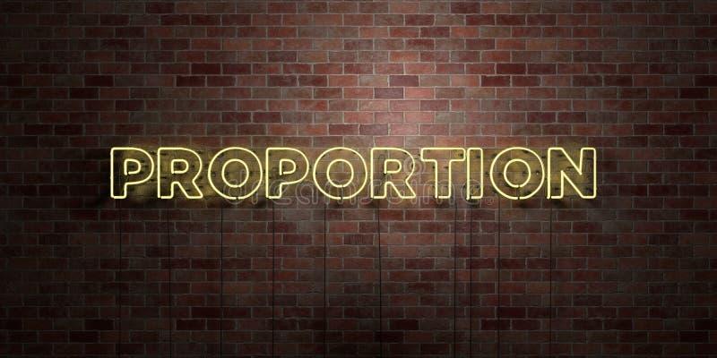 PROPORTION - fluorescerande tecken för neonrör på murverk - främre sikt - 3D framförd fri materielbild för royalty stock illustrationer