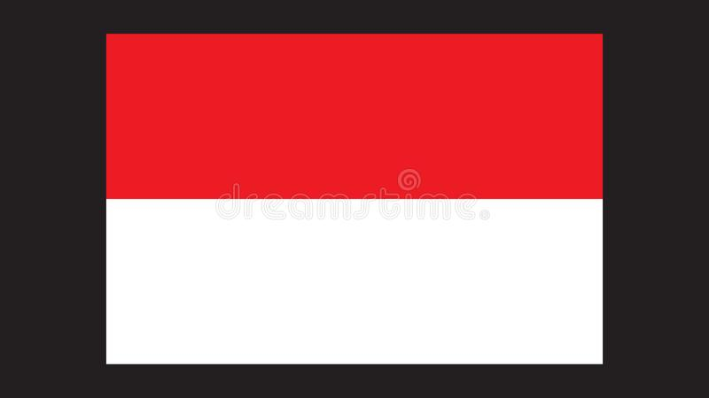 Proportional Size Indonesian Flag Isolated In Black vector illustration