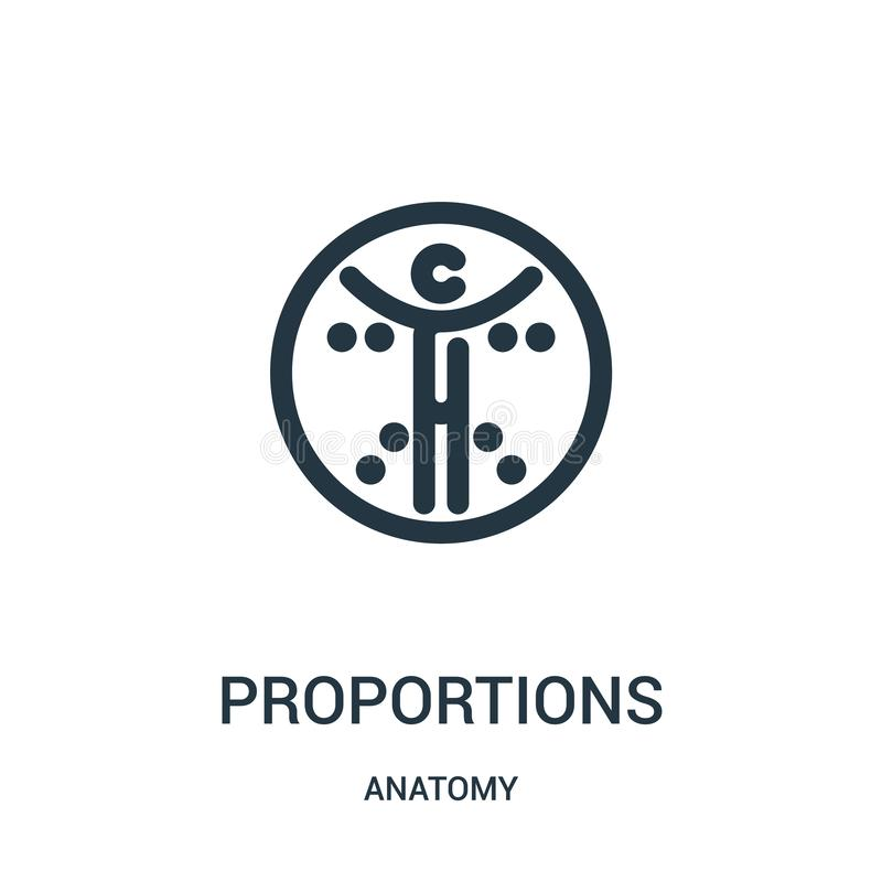 Proportions icon vector from anatomy collection. Thin line proportions outline icon vector illustration. Linear symbol for use on. Web and mobile apps, logo royalty free illustration
