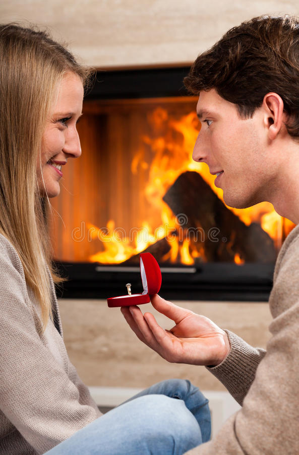 Proposal at home stock image