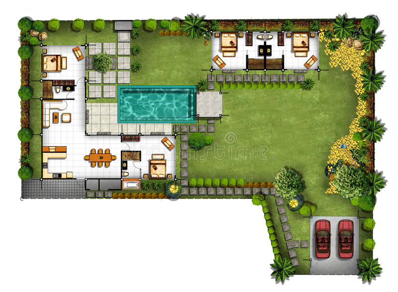Proposal Of Planning House With With Green Area Stock Illustration