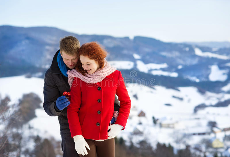 Proposal In The Snow Royalty Free Stock Image