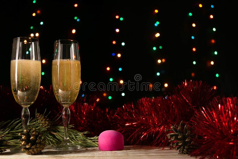 Proposal to get married on New Year`s or Christmas night. The concept of a new life in the new year. Two glasses of champagne. stock photography