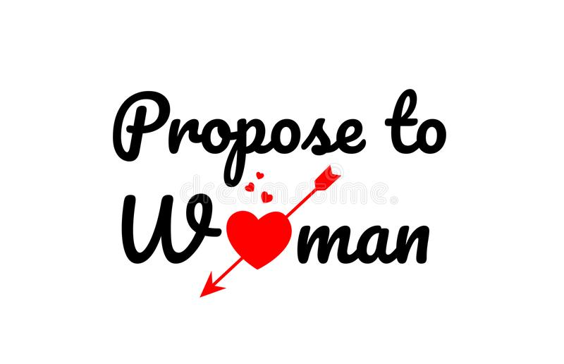 propose to woman word text typography design logo icon royalty free illustration