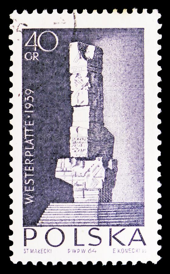 Proposed manument for defenders of Westerplatte 1939, serie, circa 1964. MOSCOW, RUSSIA - SEPTEMBER 15, 2018: A stamp printed in Poland shows Proposed manument royalty free illustration