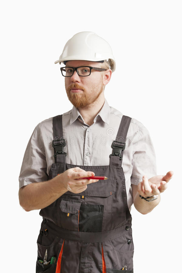 Proposing. Construction Foreman Pointing with Pencil in Proposing Expression stock photos