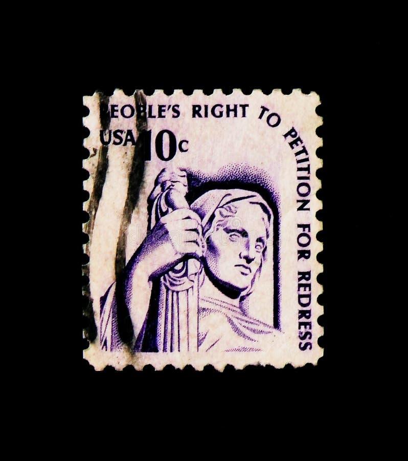 Proposito di giustizia da J E Fraser, serie americana dell'edizione, circa 1977 fotografia stock