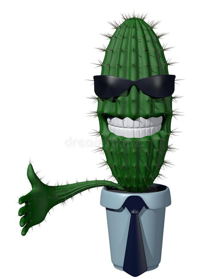 Proposta della stretta di mano del cactus illustrazione vettoriale
