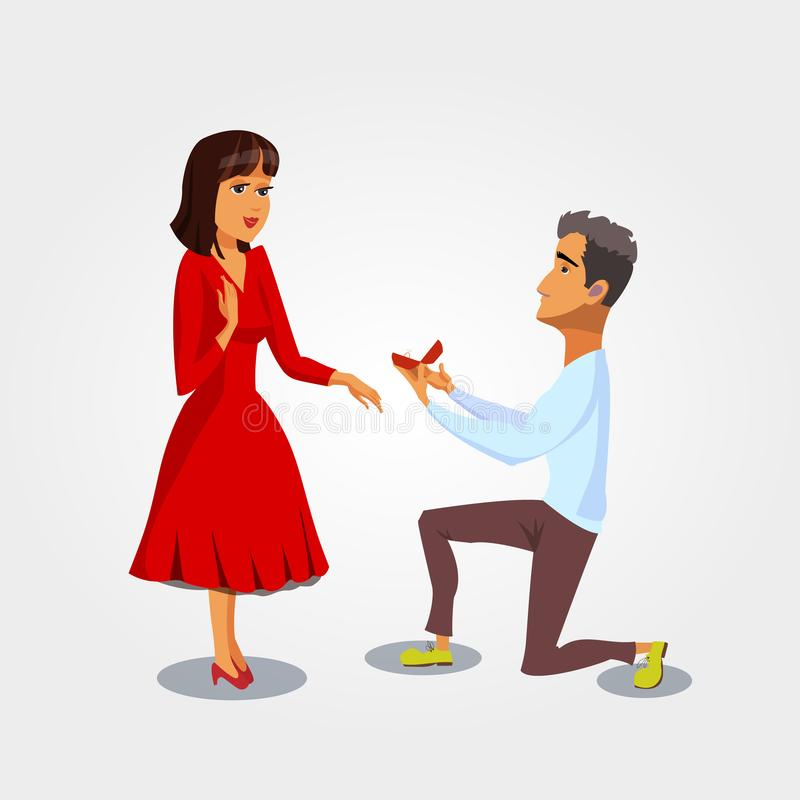 Proposta di matrimonio, illustrazione di vettore di impegno royalty illustrazione gratis