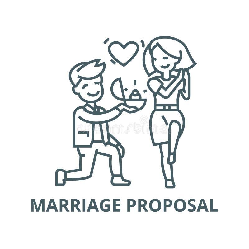 A proposta, o homem e a mulher de união, amam a linha ícone do vetor do anel, conceito linear, sinal do esboço, símbolo ilustração royalty free