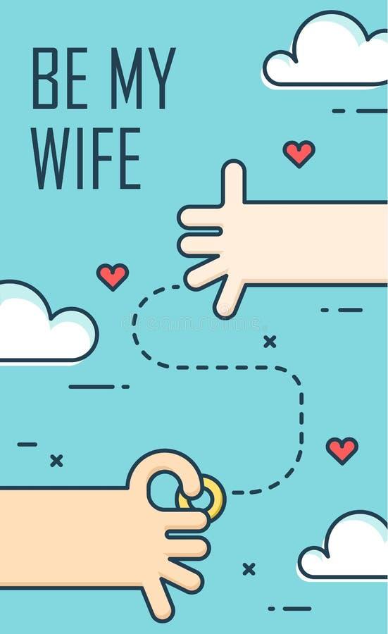 Propozyci małżeństwo Cienki kreskowy płaski projekta sztandar dla zaręczynowego dnia mój żoną jest Tło z rękami, pierścionkiem i  ilustracja wektor