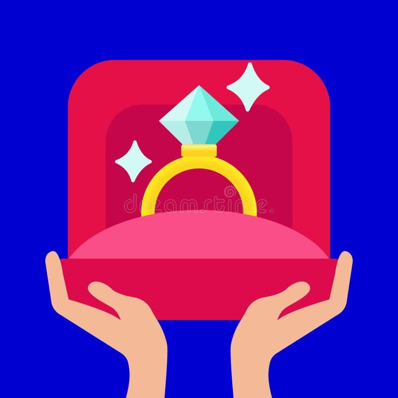 Propozyci małżeństwo, wektorowa ilustracja Mężczyzna trzyma w ręce otwartego pudełko z obrączką ślubną royalty ilustracja