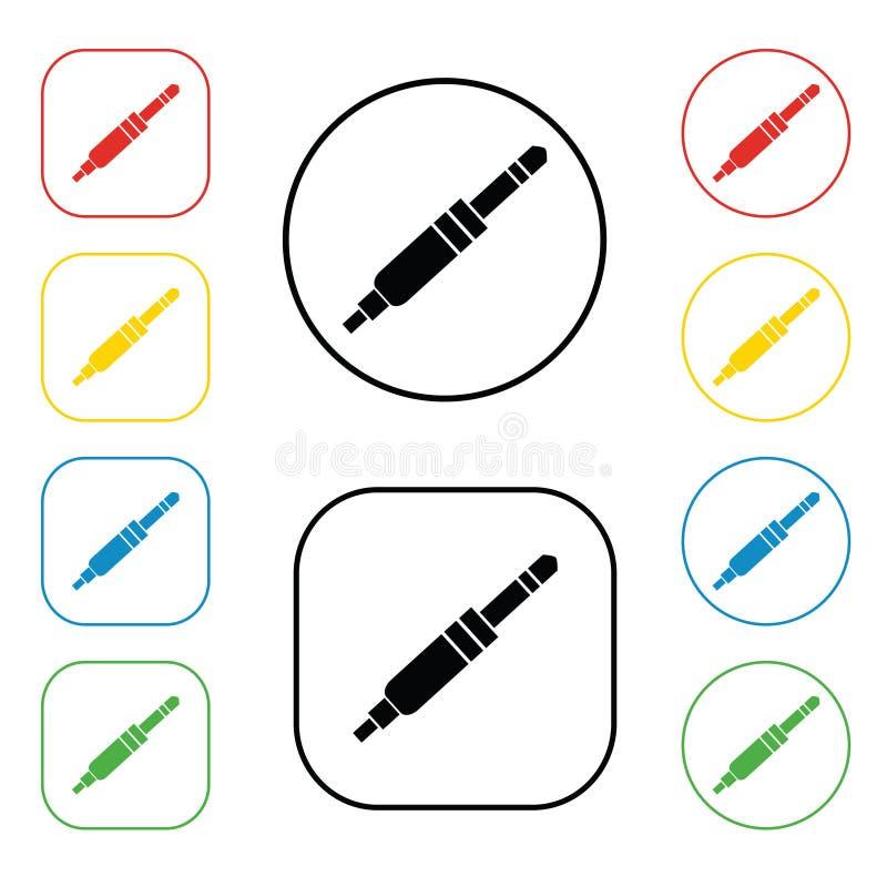 Propp mini- stålarsymbolstecken En uppsättning av kulör symbol 8 Plan design illustration För ljudsignalt svart och färgrik symbo stock illustrationer