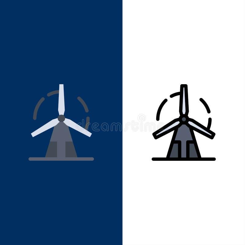 Propre, énergie, vert, puissance, icônes de moulin à vent L'appartement et la ligne icône remplie ont placé le fond bleu de vecte illustration stock