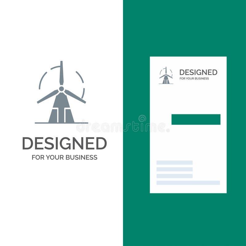 Propre, énergie, vert, puissance, moulin à vent Grey Logo Design et calibre de carte de visite professionnelle de visite illustration de vecteur