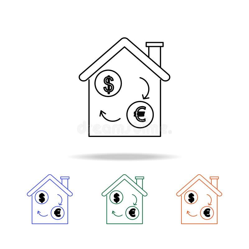 Propriété d'investissement - icône d'immobiliers Éléments des immobiliers dans les icônes colorées multi Icône de la meilleure qu illustration de vecteur