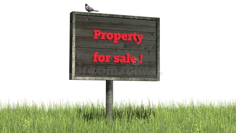 Propriété de ` d'herbe de connexion à vendre le ` photographie stock
