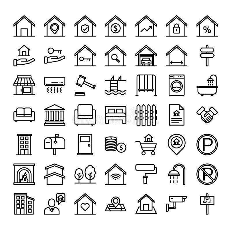 Propriété, ensemble d'icône d'ensemble de Real Estate illustration libre de droits