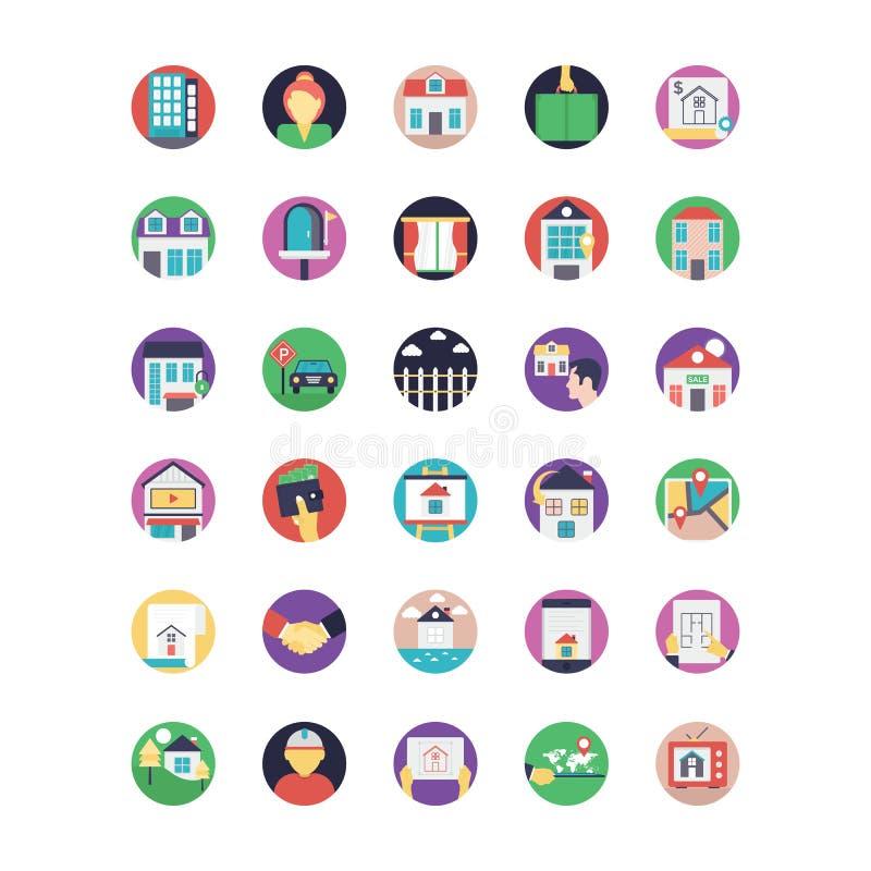 Propriété et icônes de vecteur colorées par Real Estate réglées illustration stock
