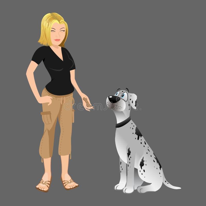 Propriétaire de chien donnant le festin illustration stock