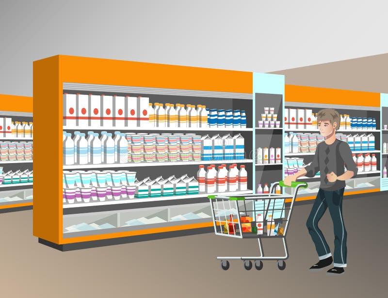 Propriétaires faisant des emplettes au supermarché illustration stock
