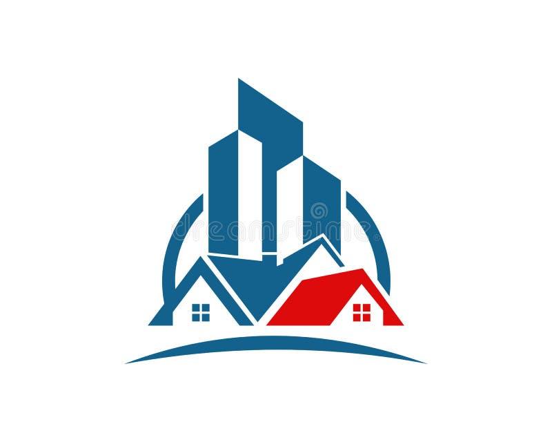 A propriedade de Real Estate e o logotipo da construção projetam para o sinal incorporado do negócio ilustração royalty free