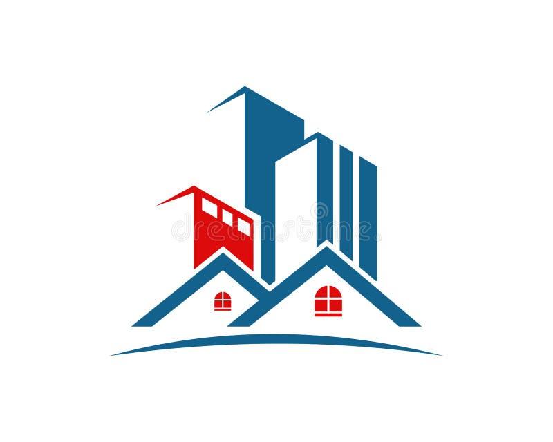 A propriedade de Real Estate e o logotipo da construção projetam para o sinal incorporado do negócio ilustração do vetor