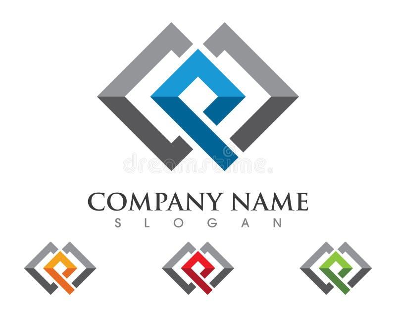 Propriedade Logo Template da letra de P ilustração royalty free