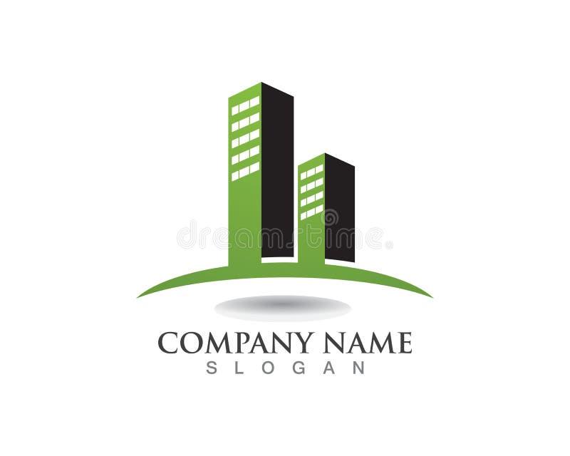 Proprietà dell'appartamento e progettazione di logo della costruzione illustrazione di stock