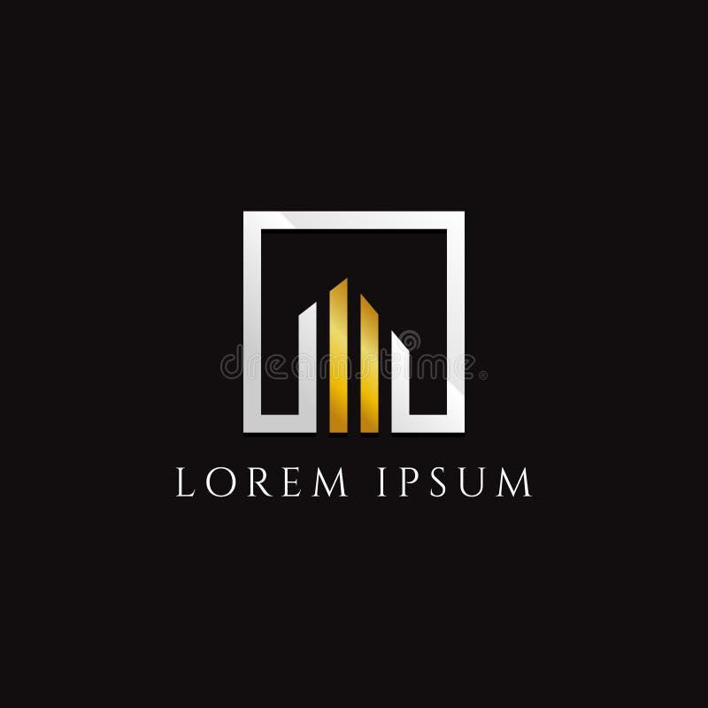 Proprietà oro-argento Logo Design del quadrato illustrazione vettoriale