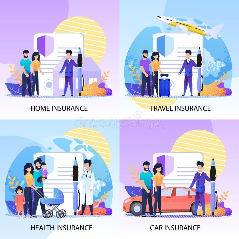 Proprietà, salute, insieme di assistenze assicurative di viaggio royalty illustrazione gratis