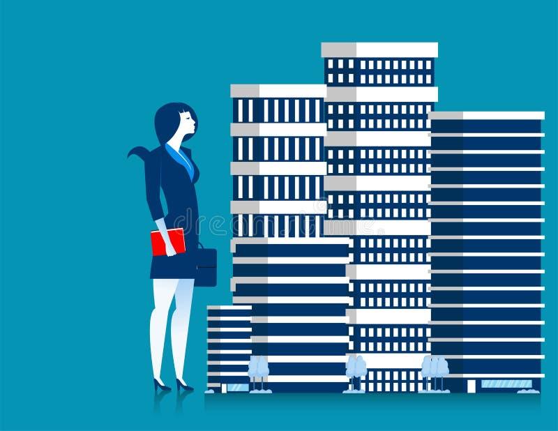 Proprietário da mulher de negócios de estar da propriedade das construções do arranha-céus ilustração royalty free