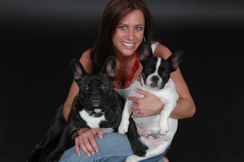 Proprietário francês do cão de Bull imagem de stock royalty free