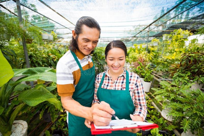 Proprietários da estufa para cultivo de laranjas imagem de stock royalty free