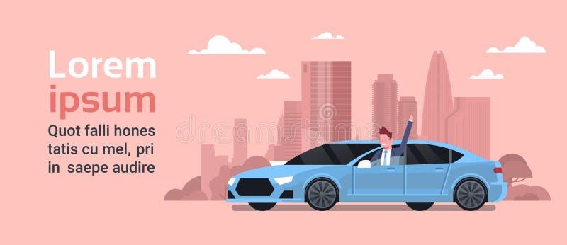 Proprietario felice che conduce nuova automobile sopra il concetto dell'acquisto di Vechicle del fondo della città della siluetta illustrazione vettoriale