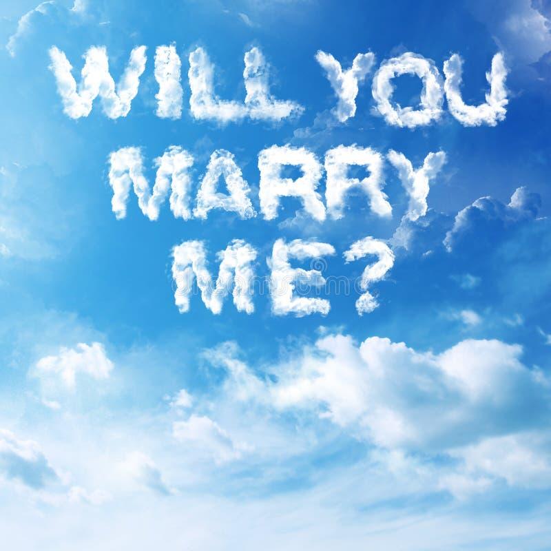 Propuesta de matrimonio de la nube imagen de archivo