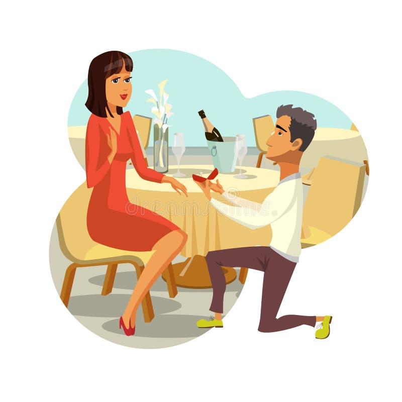 Propuesta de matrimonio, dibujo del vector del compromiso stock de ilustración