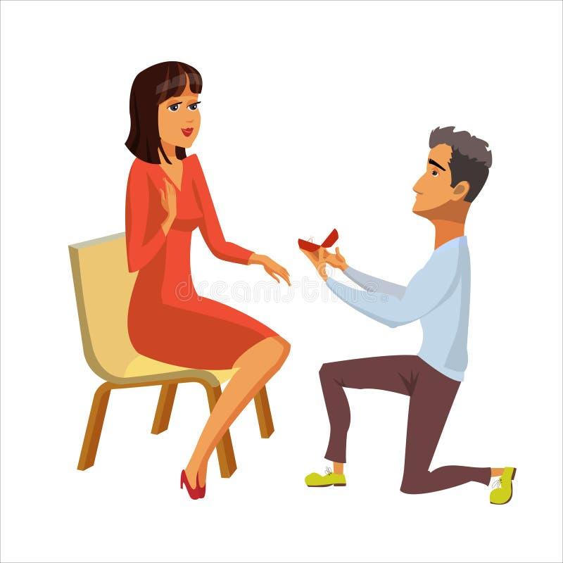 Propuesta de matrimonio, ejemplo plano del compromiso ilustración del vector
