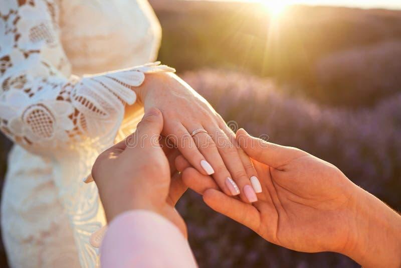 Propuesta de matrimonio en un campo de la lavanda fotos de archivo libres de regalías