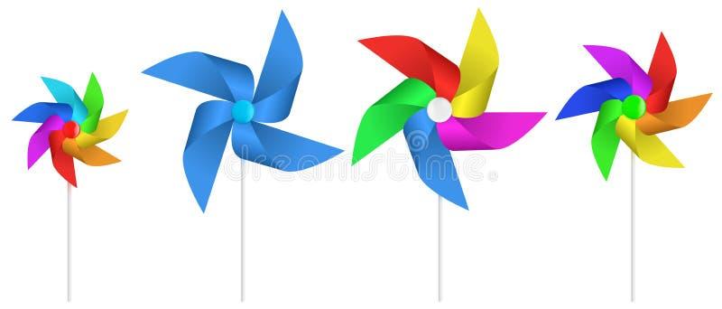 Propulseur coloré multi de moulin à vent de papier de jouet illustration de vecteur