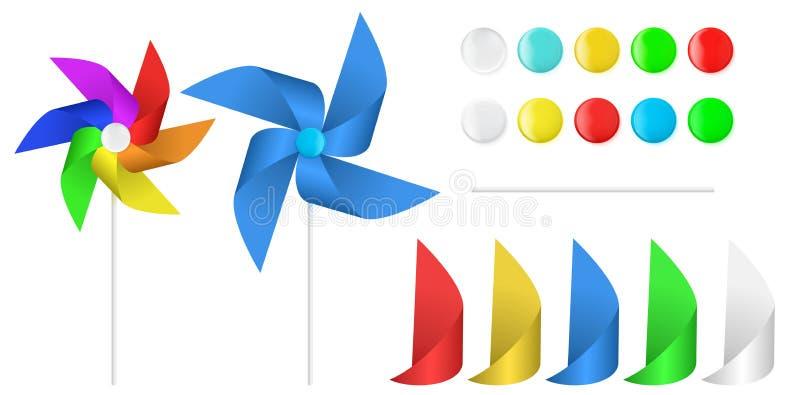Propulseur coloré multi de moulin à vent de papier de jouet illustration stock