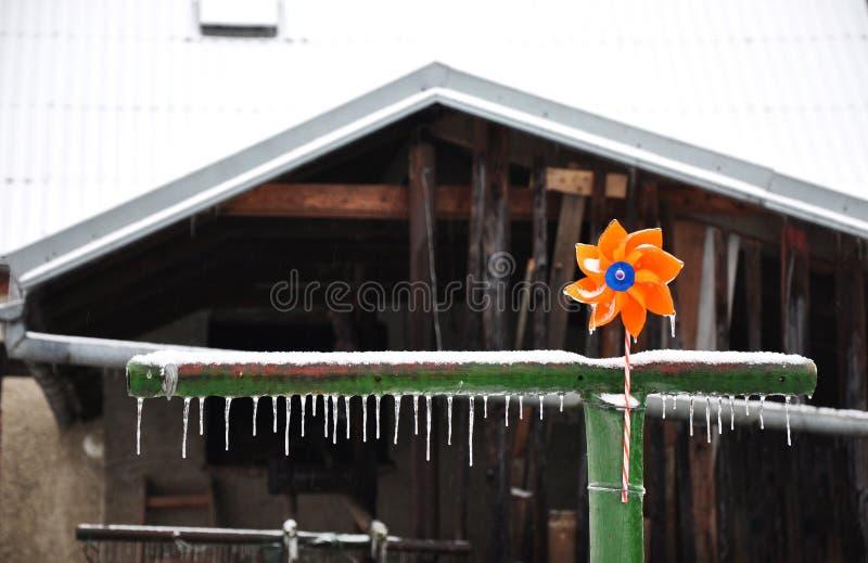Propulseur orange de bébé avec des glaçons de glace photo stock