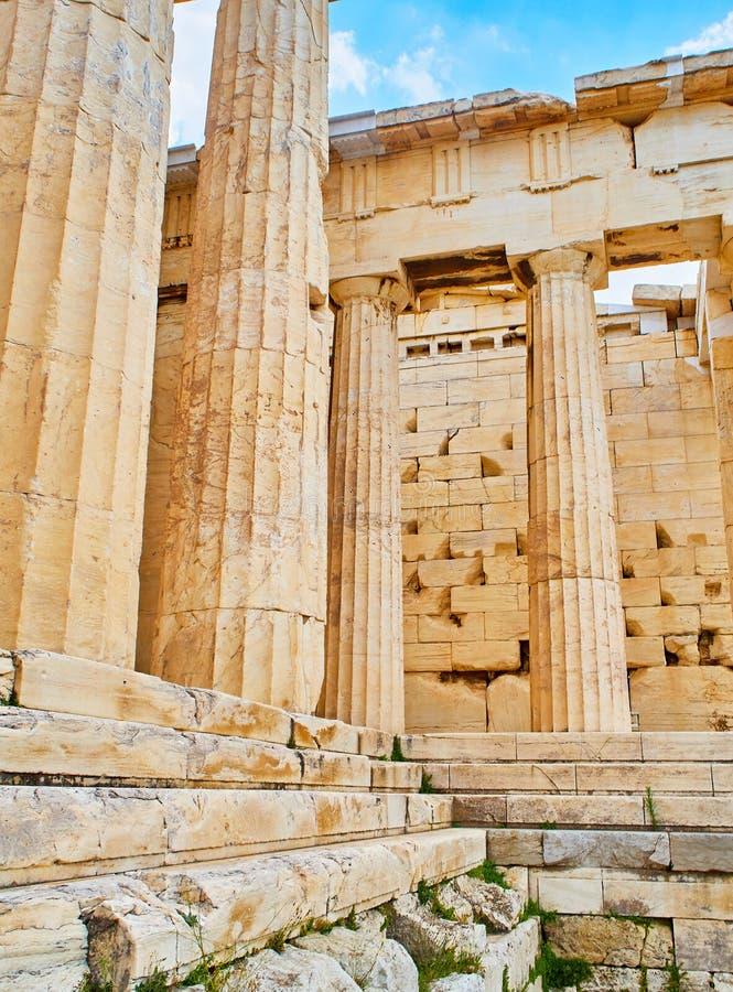 Propylaea antyczna brama Ateński akropol Ateny, Grecja obraz stock