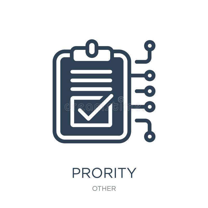 Prority icon in trendy design style. prority icon isolated on white background. prority vector icon simple and modern flat symbol. For web site, mobile, logo vector illustration