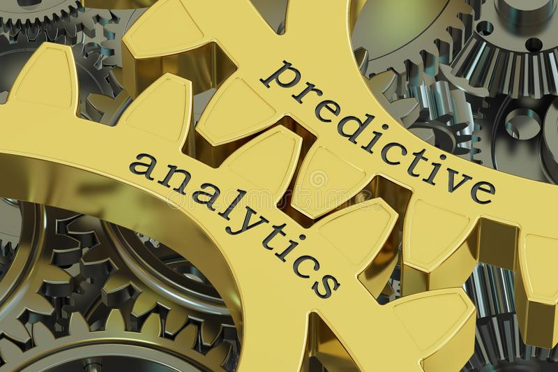 Proroczy analityki pojęcie na gearwheels, 3D rendering ilustracja wektor