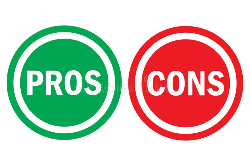 Pros and cons assessment analysis red left green right word text on circle buttons in transparent background stock illustration